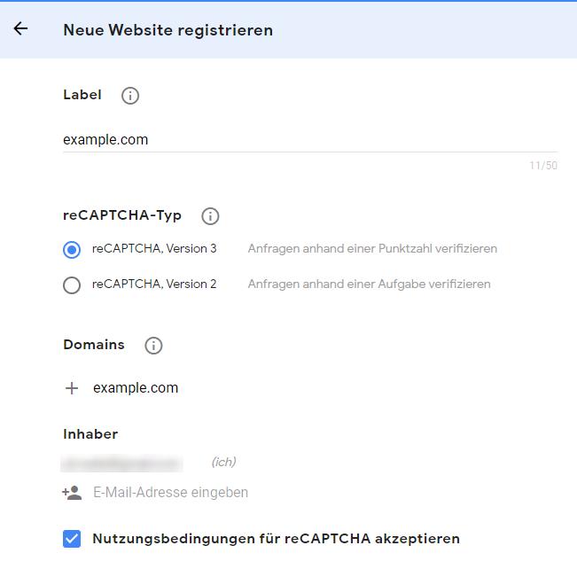 Konfiguration von reCAPTCHA